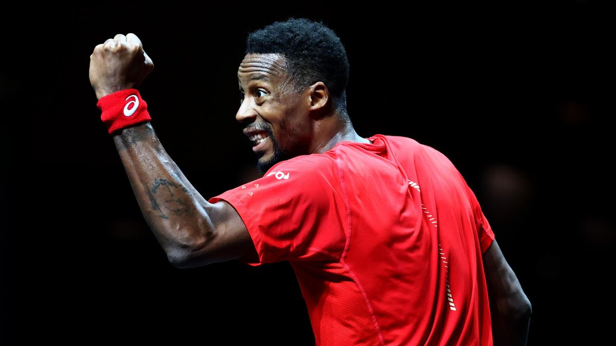 Gael Monfils of France celebrates a point against Daniel Evans of Great Britain during Day 7 of the ABN AMRO World Tennis Tournament at Rotterdam Ahoy