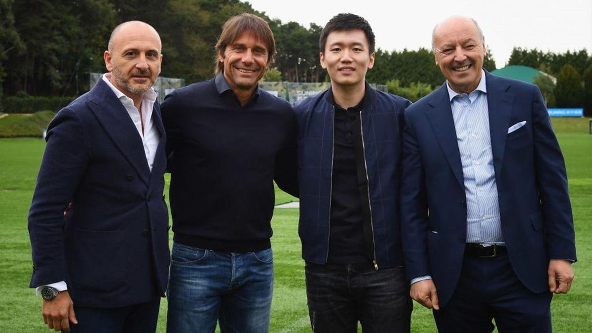 Conte, Zhang, Marotta, Ausilio - Inter training 2020 - Getty Images