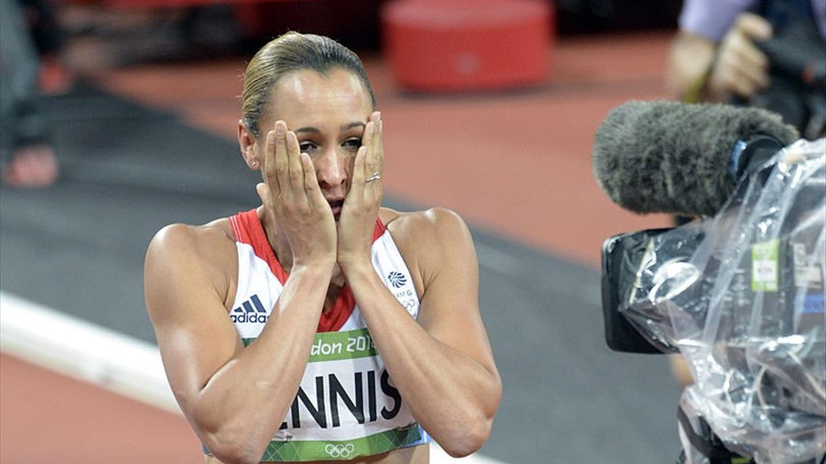 Jessica Ennis of Great Britain reacts after winning gold in the Women's Heptathlon on Day 8 of the London 2012 Olympic Games at Olympic Stadium on August 4, 2012 in London, England