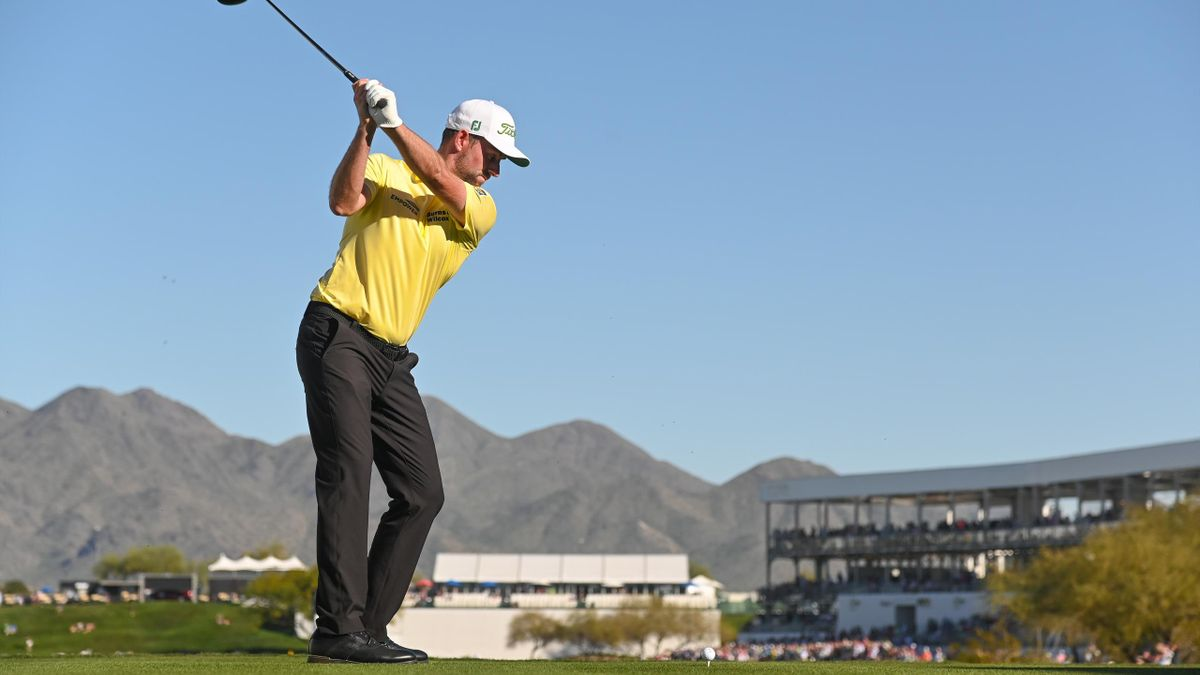 Webb Simpson swings over his ball on the 16th tee box during the final round of the Waste Management Phoenix Open at TPC Scottsdale on February 2, 2020 in Scottsdale, Arizona