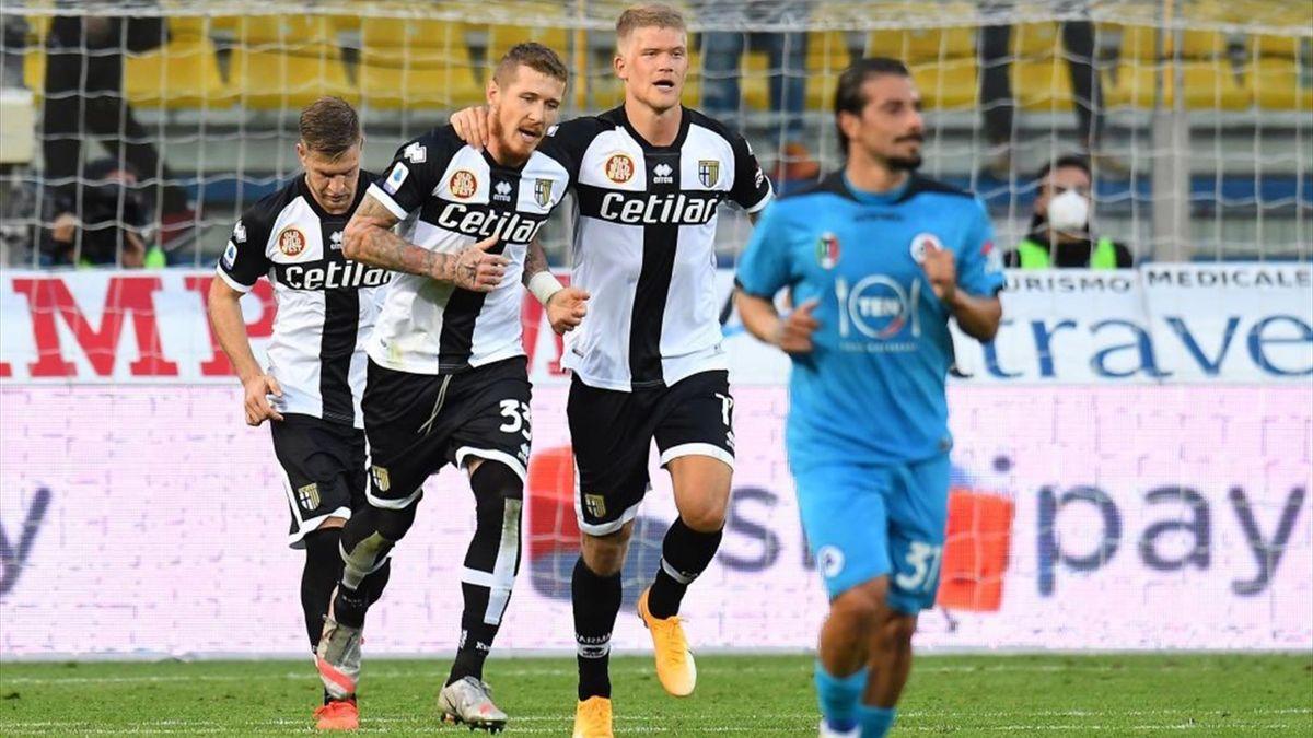 Kucka dopo il rigore in Parma-Spezia