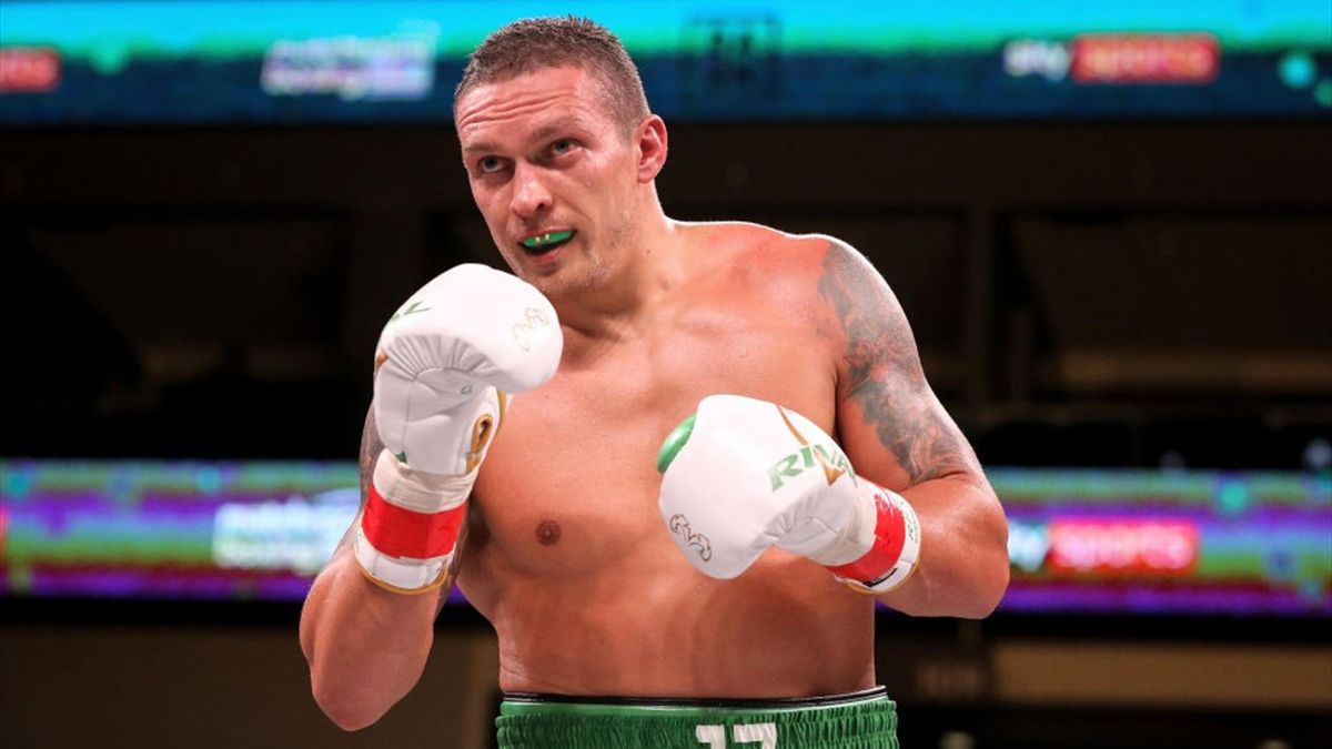 Oleksandr Usyk of Ukraine looks on in the sixth round of his Heavyweight bout against Chazz Witherspoon at Wintrust Arena on October 12, 2019 in Chicago, Illinois.