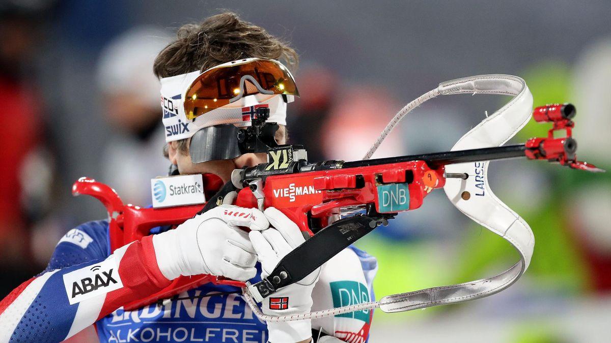 Ole Einar Bjørndalen in actie op het test event voor de Olympische Spelen van PyeongChang 2018 (op 3 maart 2017).