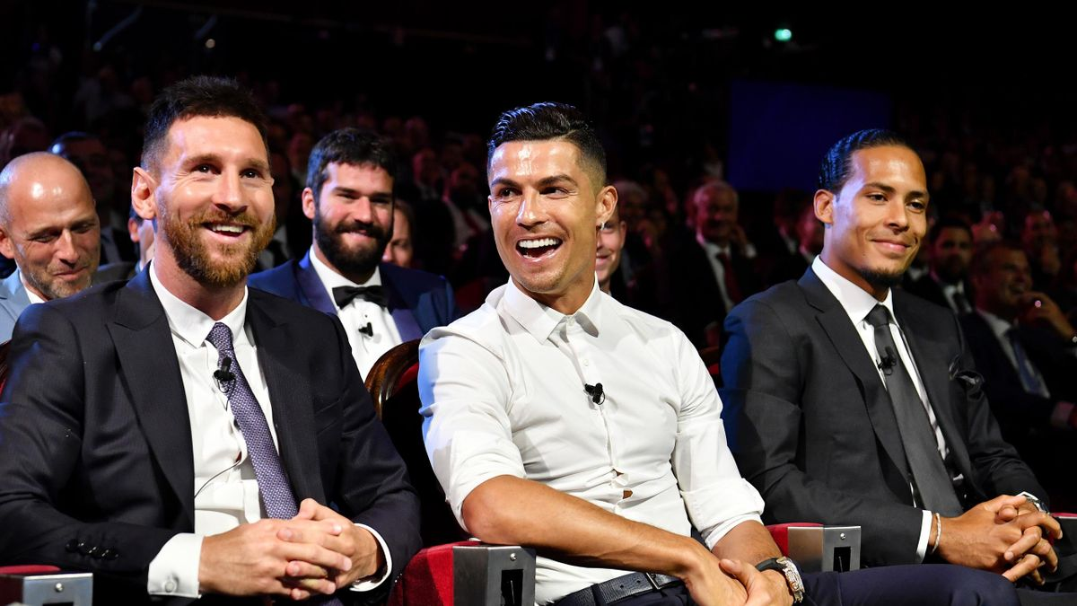 Cristiano Ronaldo of Juventus, Lionel Messi of FC Barcelona and Virgil Van Dijk of Liverpool react during the UEFA Champions League Draw, part of the UEFA European Club Football Season Kick-Off 2019/2020 at Salle des Princes, Grimaldi Forum on August 29,