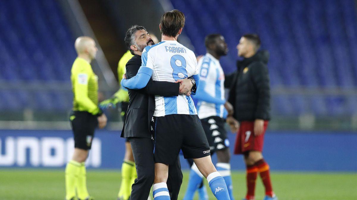 L'abbraccio a fine partita fra Rino Gattuso e Fabian Ruiz, Roma-Napoli, Getty Images