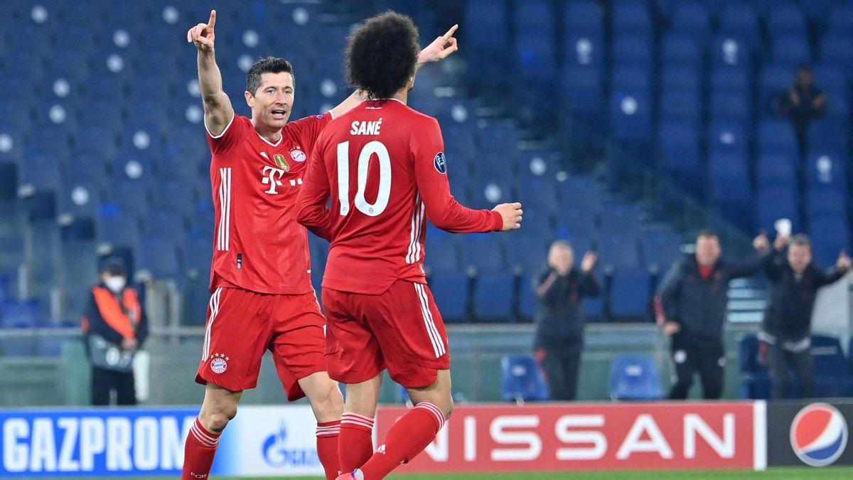 Robert Lewandowski und Leroy Sané vom FC Bayern