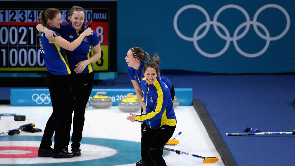 Gold medalist, Anna Hasselborg of Sweden celebrates following the Women's Gold Medal Game between Sweden and Korea on day sixteen of the PyeongChang 2018 Winter Olympic Games at Gangneung Curling Centre on February 25, 2018 in Gangneung, South Korea.