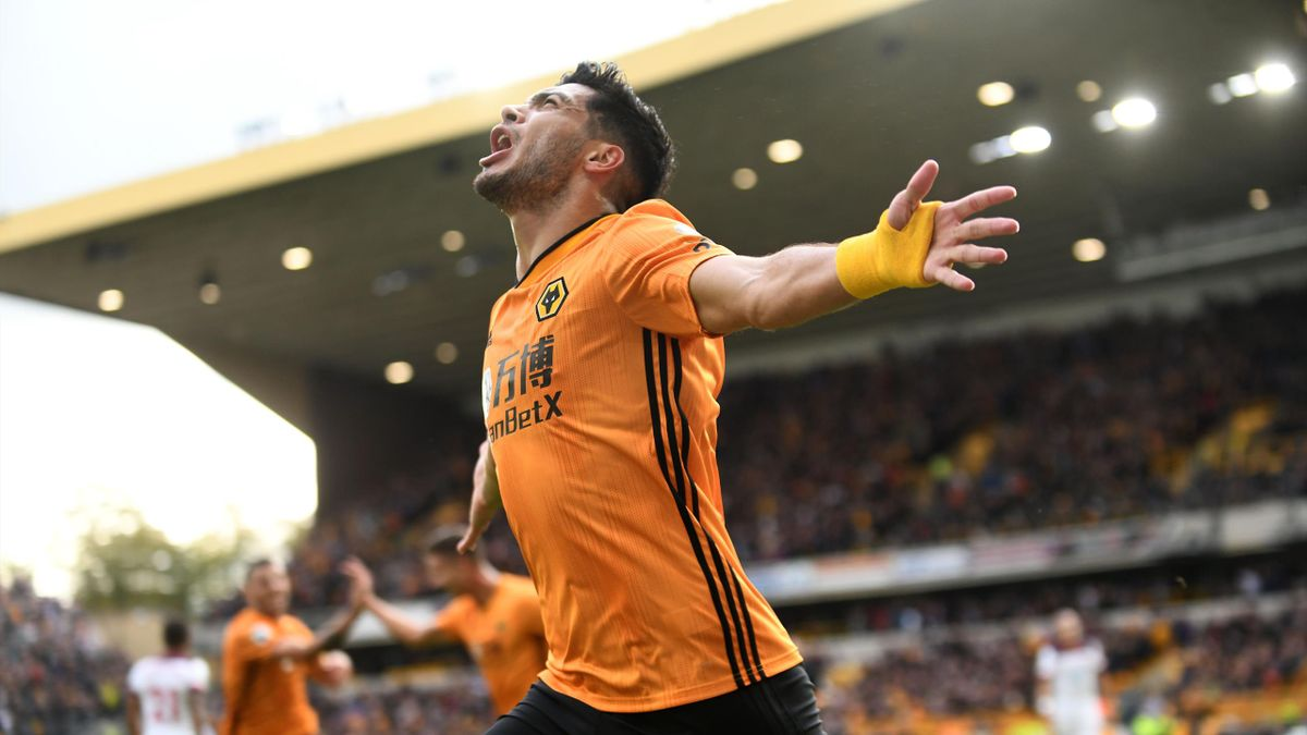 Raul Jimenez of Wolverhampton Wanderers celebrates against Southampton during the Premier League match at Molineux on October 19, 2019.