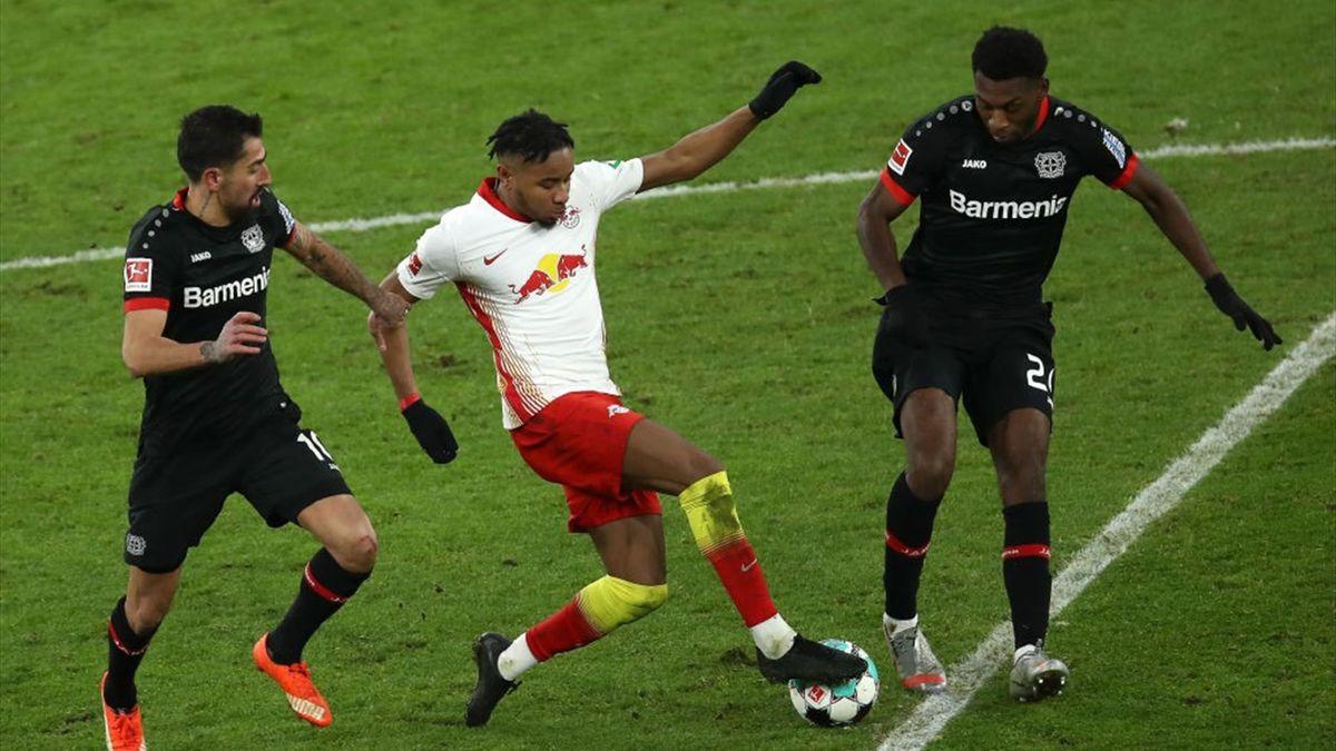 Christopher Nkunku, Kerem Demirbay et Timothy Fosu-Mensah lors de Leipzig - Leverkusen en Bundesliga le 30 janvier 2021
