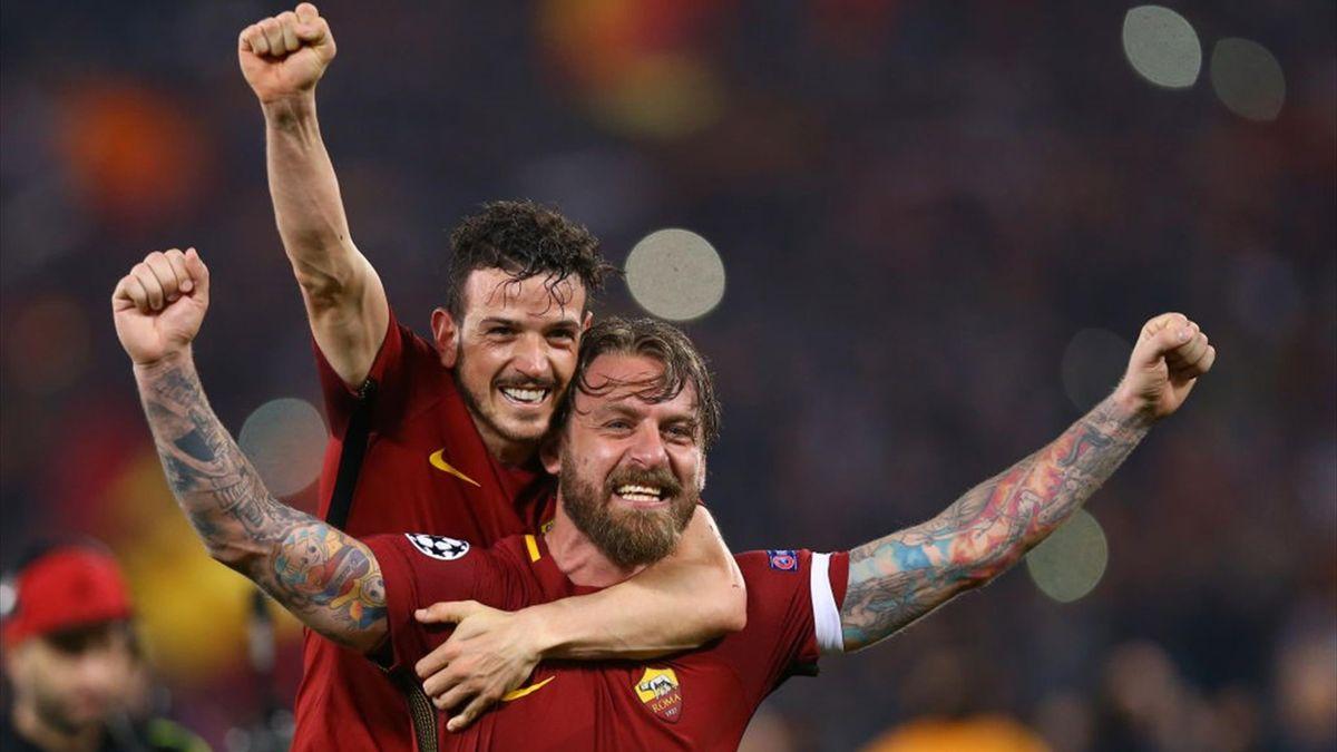 Florenzi, De Rossi - Roma-Barcellona - Champions League 2017/2018 - Getty Images
