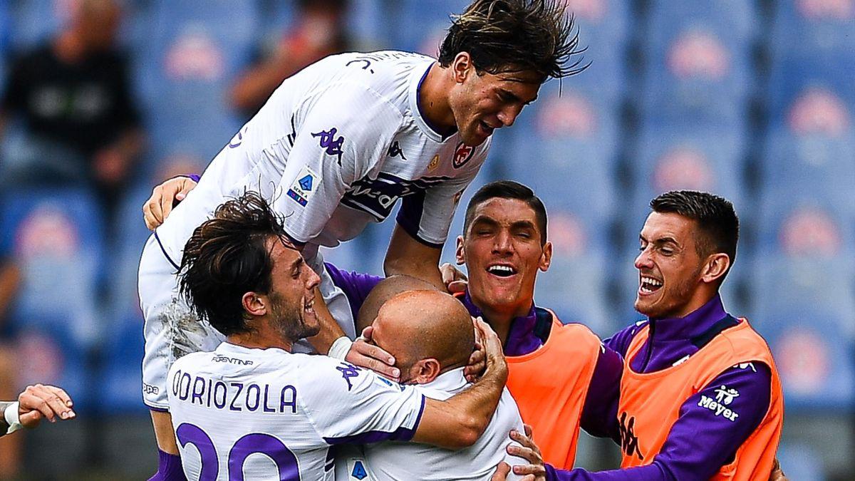 Riccardo Saponara, Dusan Vlahovic abbraccia Vincenzo Italiano, Genoa-Fiorentina, Getty Images