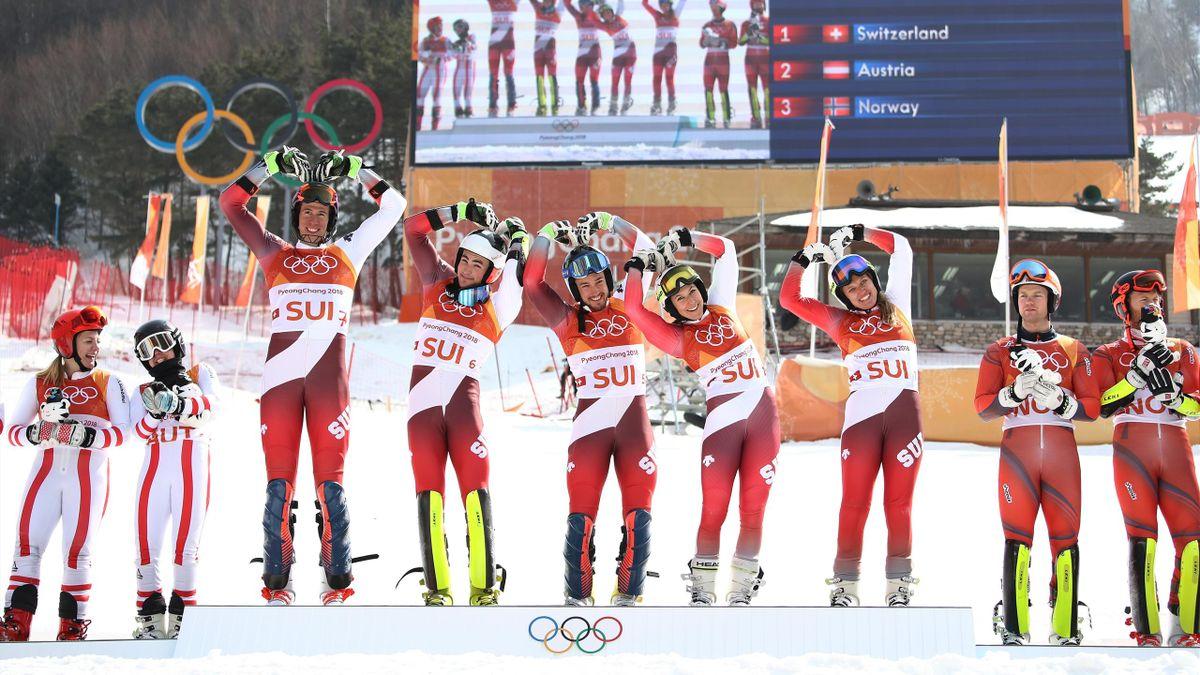 Alpine Skiing Team Event Podium