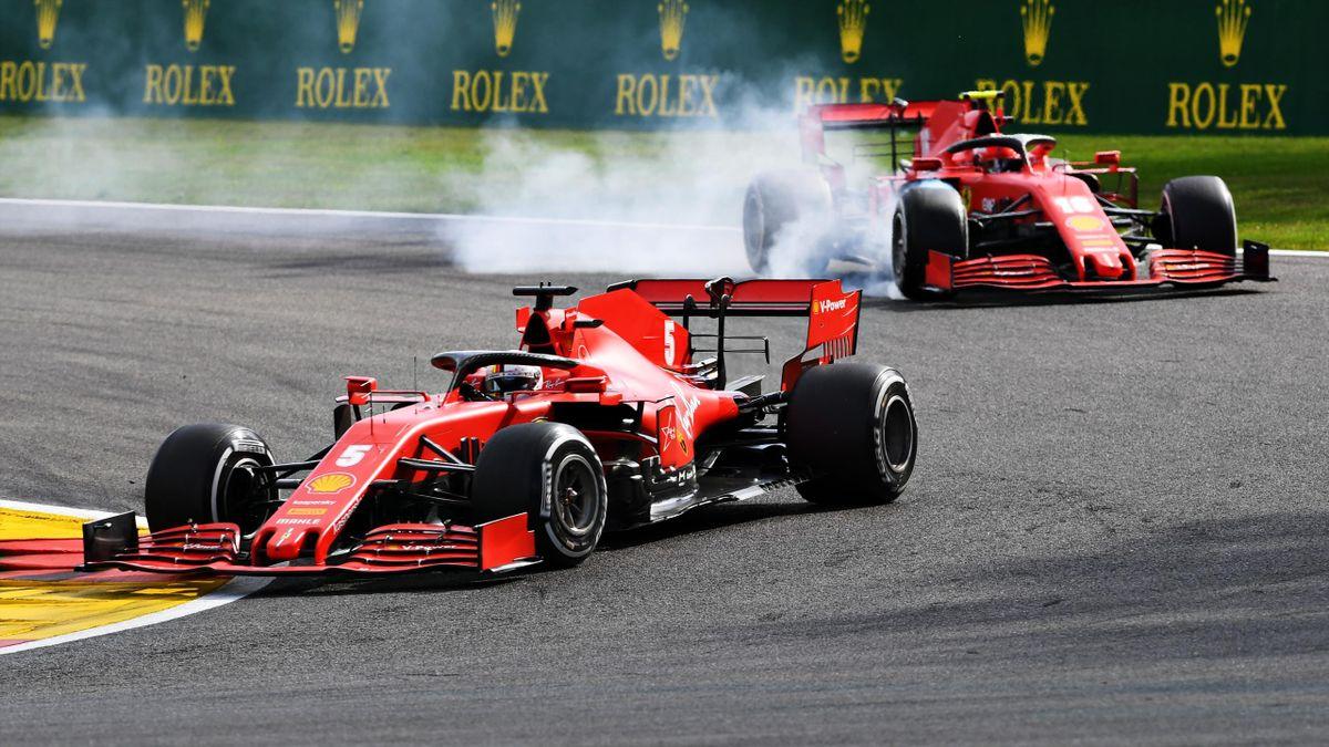 Sebastian Vettel (vorne) und Charles Leclerc erlebten in Spa ein Ferrari-Debakel
