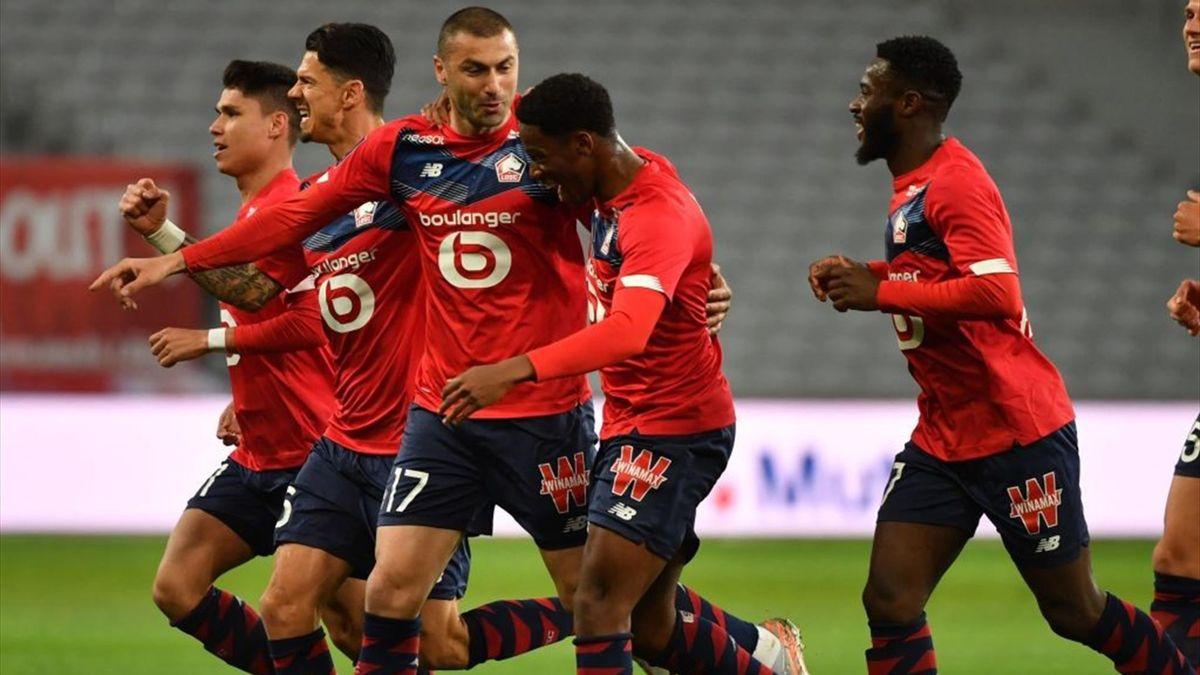 La joie des Lillois après l'ouverture du score de Yilmaz contre Nice