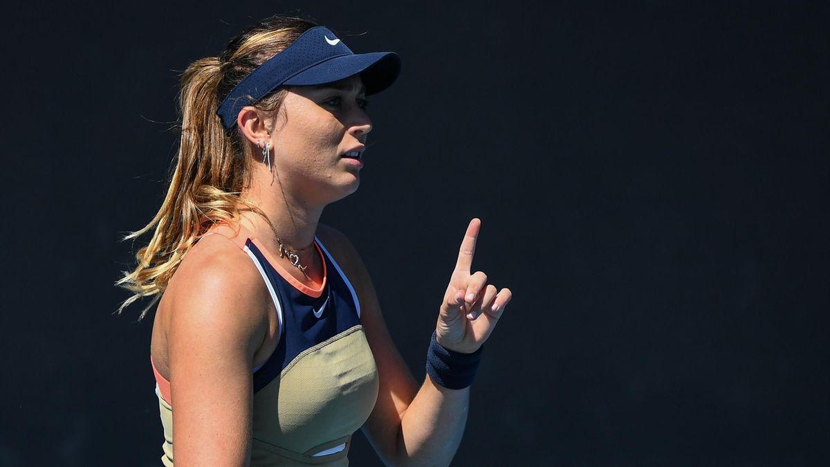 Paula Badosa durante su partido de primera ronda en el Open de Australia