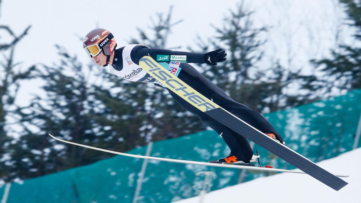 Junshiro Kobayashi from Japan competes in the men's individual event at the FIS World Cup Ski Jumping in Vikersund on March 17, 2019.