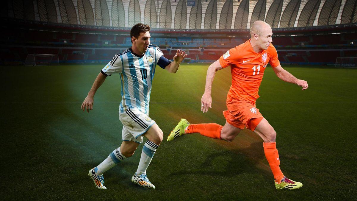 Robben et Messi lors de la Coupe du monde