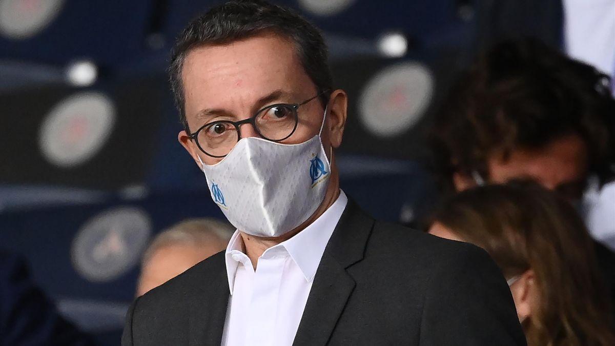 Le président de l'OM Jacques-Henri Eyraud lors d'un match opposant le PSG à Marseille, le 13 septembre 2020