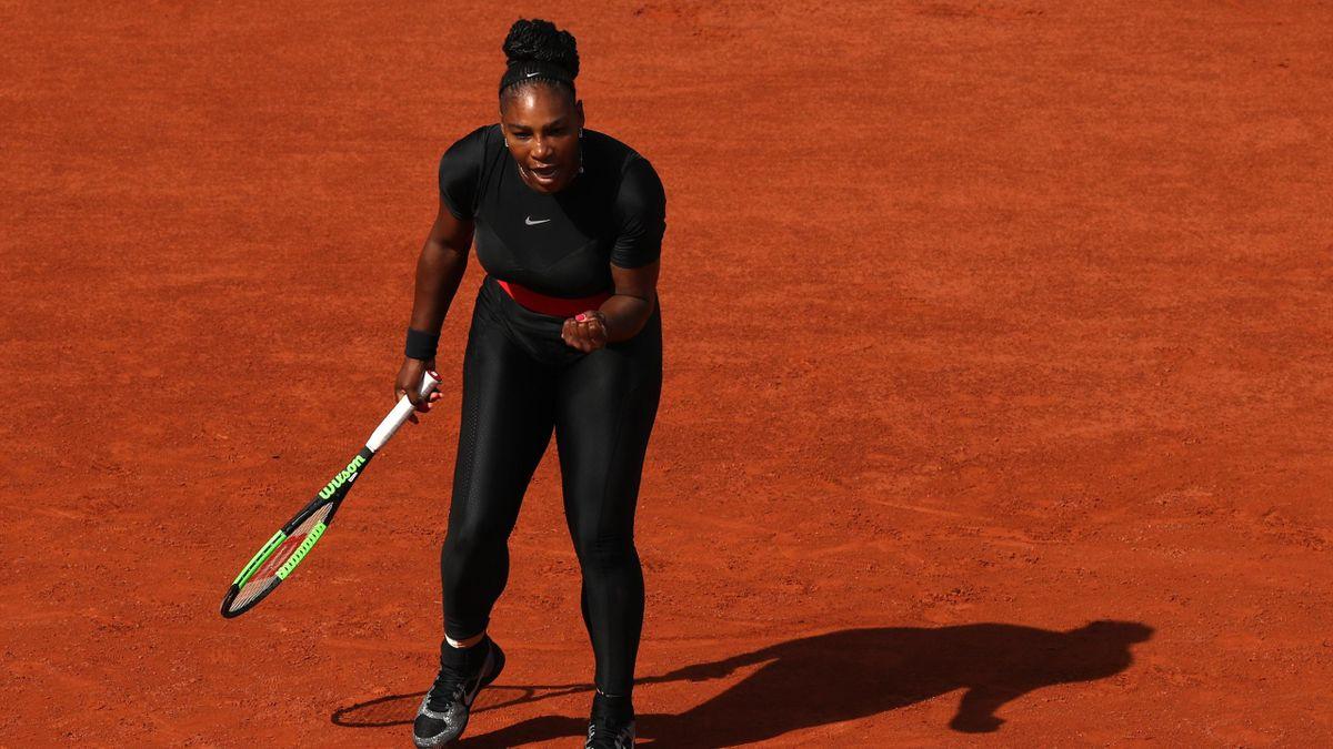 Serena Williams lors du 1er tour de Roland-Garros.