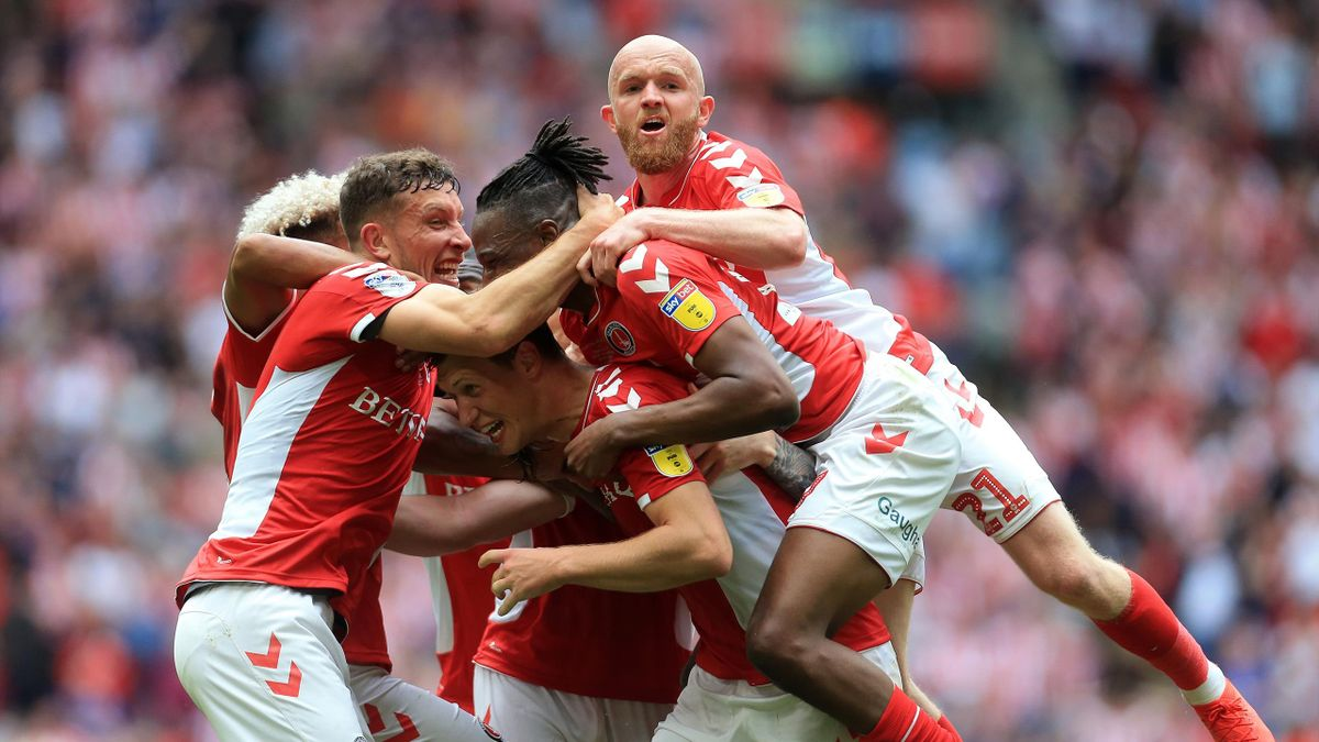 May Charlton Athletic celebrate Patrick Bauer of Charlton Athletic winning goal during the Sky Bet League 1 Play off Final between Charlton Athletic and Sunderland at Wembley Stadium, London on Sunday 26th May 2019.