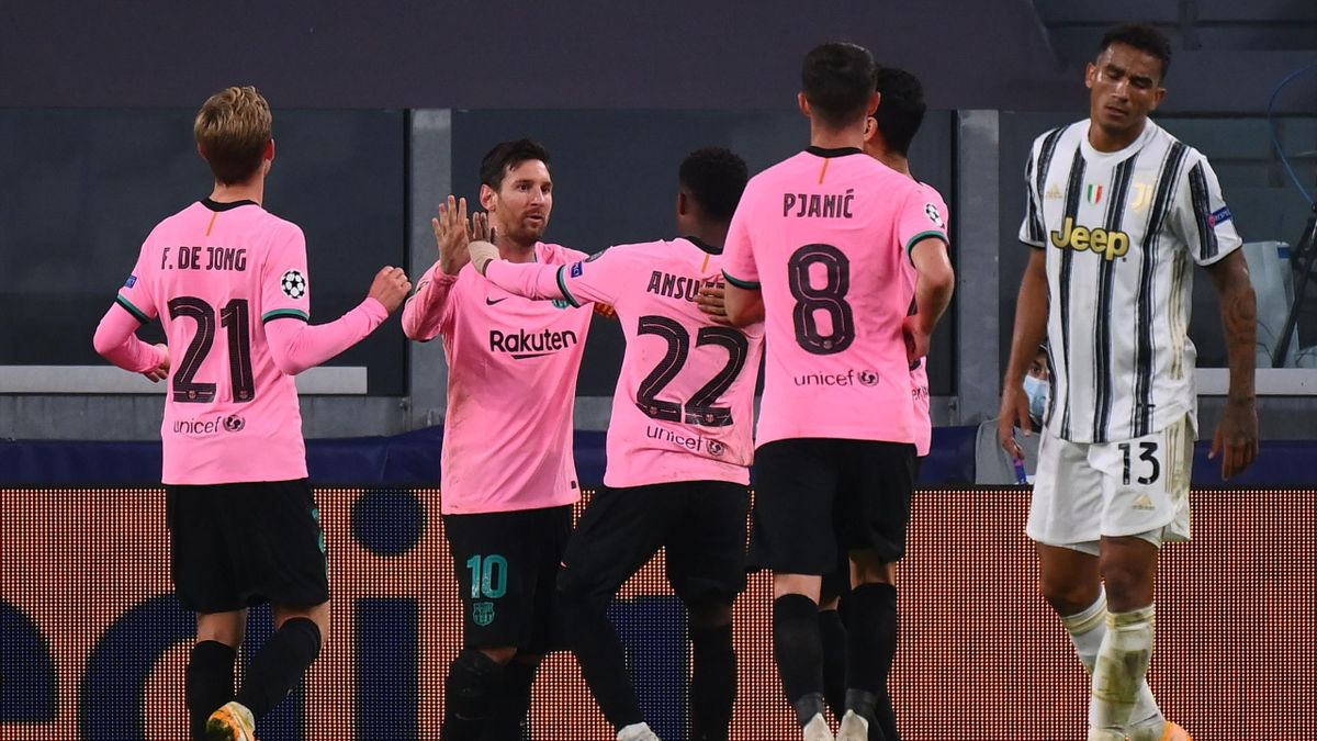 Barcelona's Argentine forward Lionel Messi celebrates scoring his team's second goal during the UEFA Champions League Group G football match between Juventus and Barcelona on October 28, 2020 at the Juventus stadium in Turin