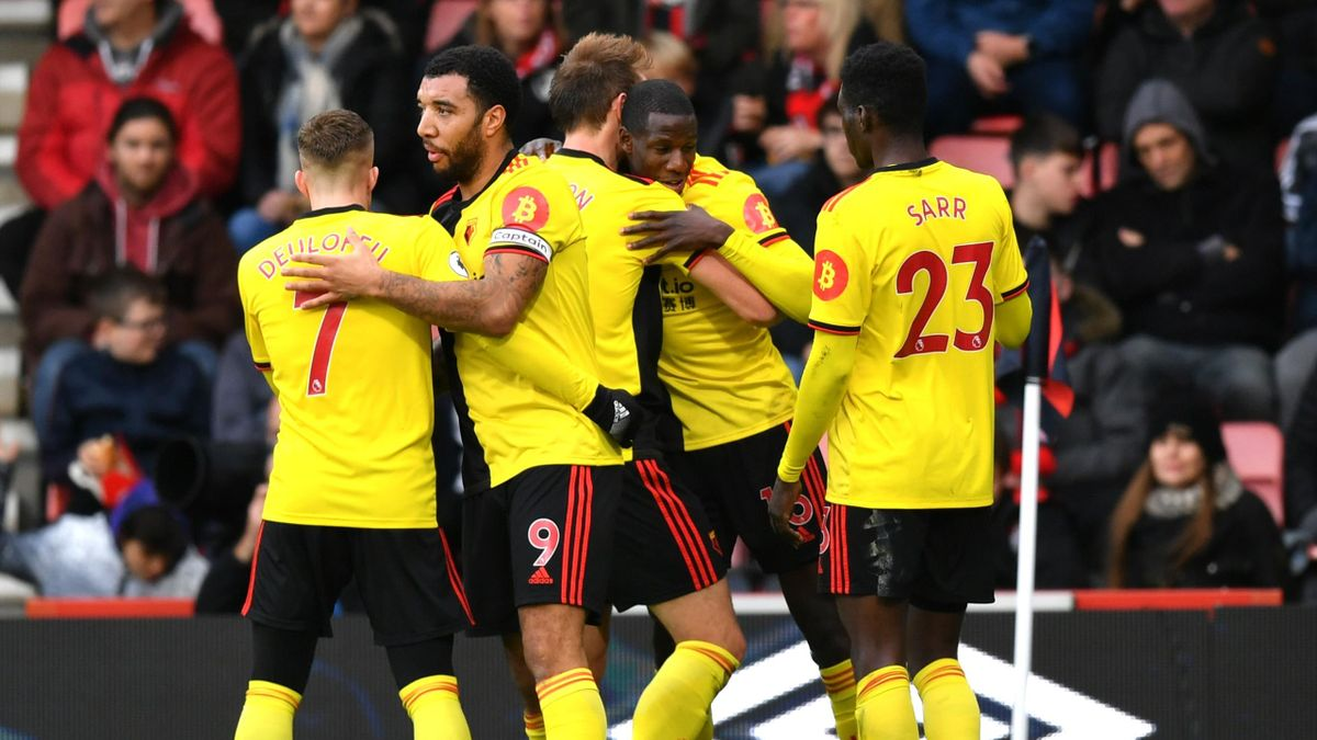 Abdoulaye Doucoure of Watford celebrates after scoring his sides first goal during the Premier League match between AFC Bournemouth and Watford FC at Vitality Stadium on January 12, 2020 in Bournemouth, United Kingdom.