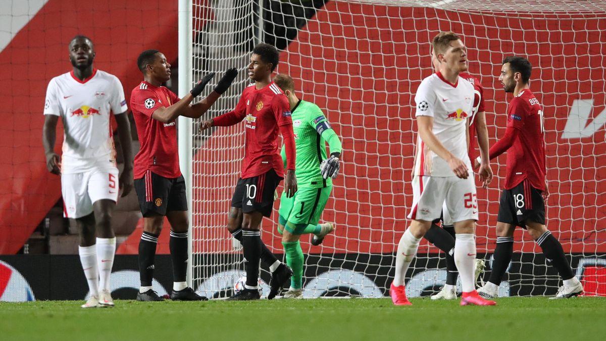 Marcus Rashford (Nr. 10) jubelt mit Anthony Martial - Manchester United vs. RB Leipzig