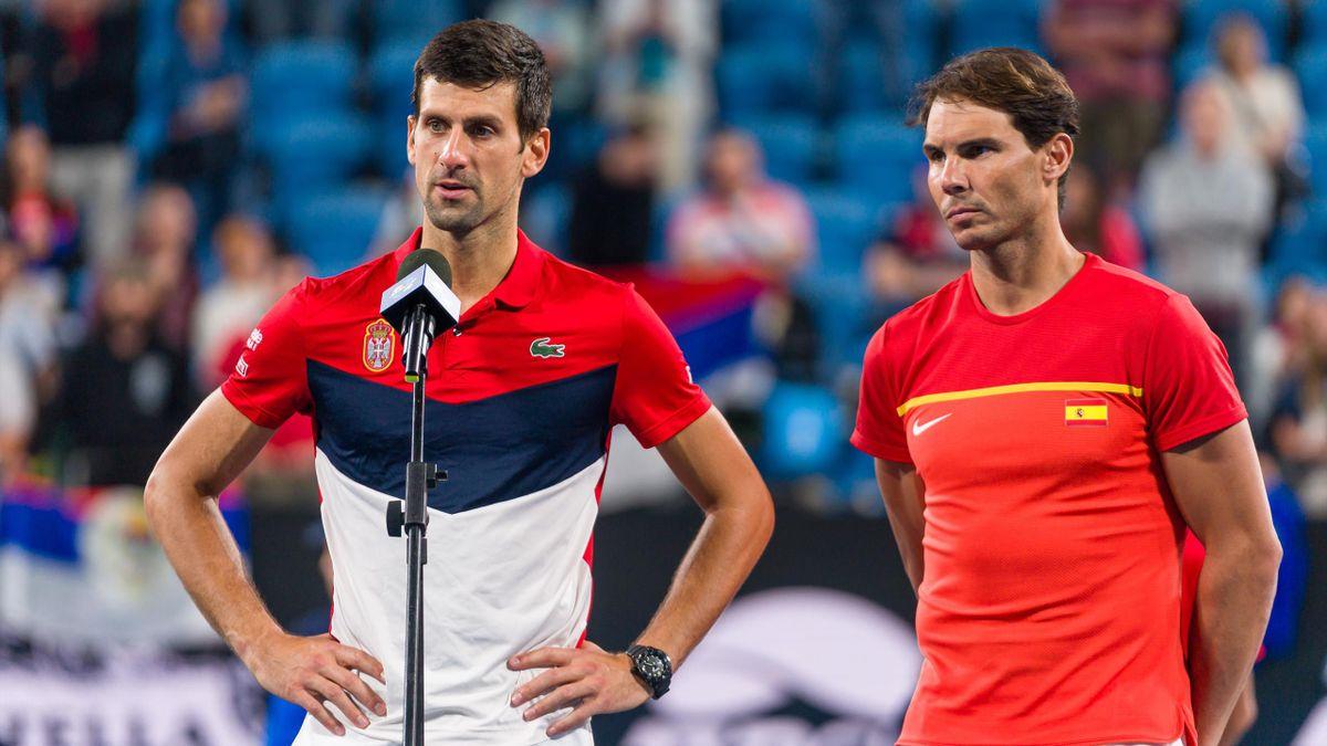 Novak Djokovic et Rafael Nadal lors de l'ATP Cup en 2020