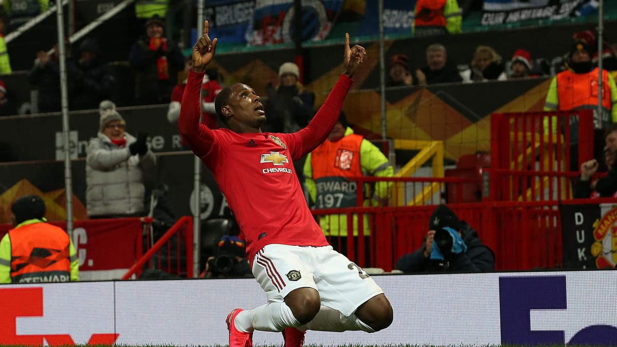 Odion Ighalo of Manchester United celebrates scoring their second goal during the UEFA Europa League round of 32 second leg match between Manchester United and Club Brugge at Old Trafford on February 27, 2020 in Manchester, United Kingdom. (Photo by Matth