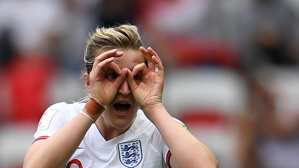 England's forward Ellen White celebrates after scoring a goal during the France 2019 Women's World Cup Group D football match between England and Scotland, on June 9, 2019, at the Nice Stadium in Nice, southeastern France
