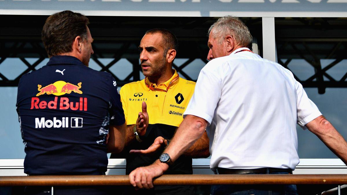 Cyril Abiteboul (Renault), Chris Horner (Red Bull) au Grand Prix de Belgique 2017