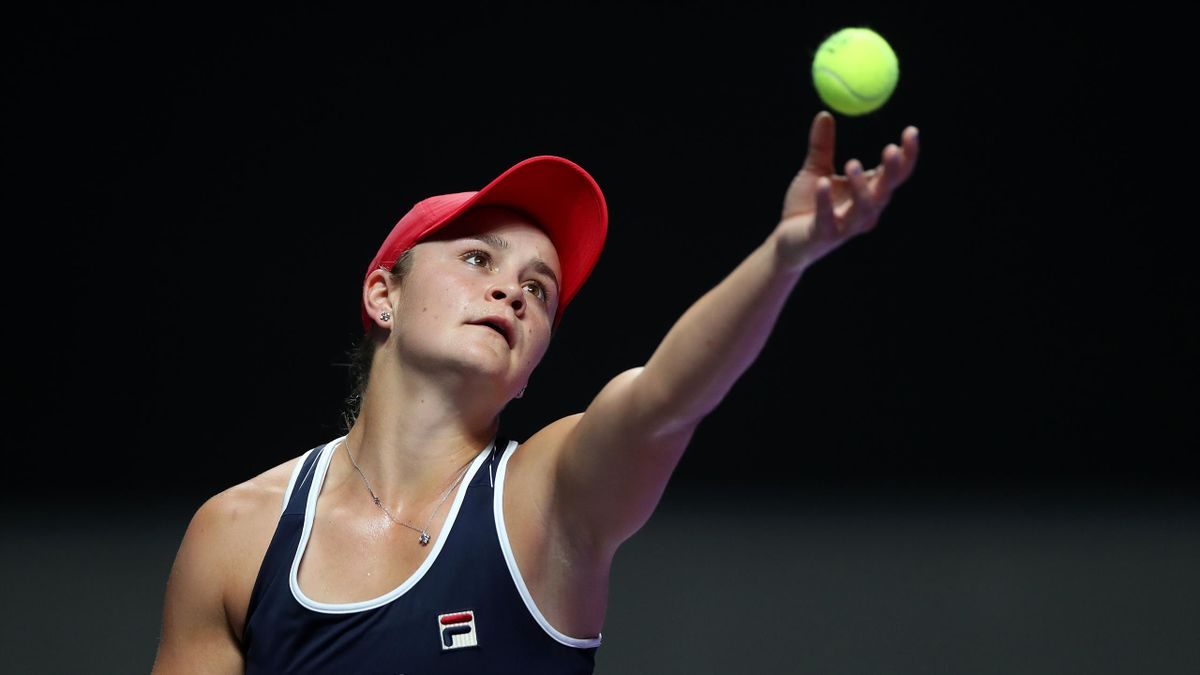Ashleigh Barty of Australia serves against Kiki Bertens of the Netherlands during their Women's Singles match on Day Three of the 2019 Shiseido WTA Finals at Shenzhen Bay Sports Center on October 29, 2019 in Shenzhen, China.