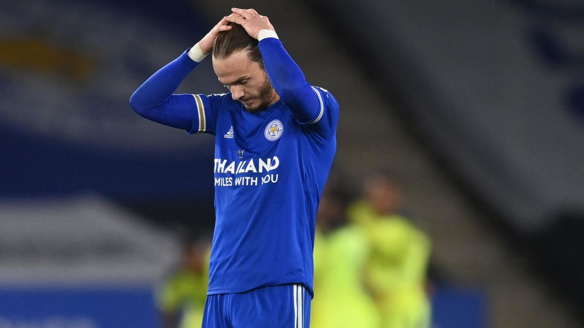 Leicester City's English midfielder James Maddison reacts after Newcastle scored their fourth goal during the English Premier League football match between Leicester City and Newcastle United at King Power Stadium in Leicester, central England on May 7, 2