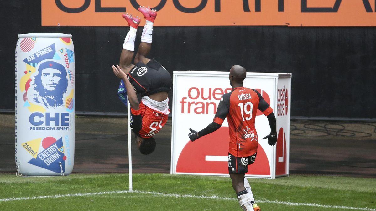 Terem Moffi of Lorient celebrates, FC Lorient v Paris Saint-Germain, Ligue 1, Stade du Moustoir, Lorient, France, January 31, 2021