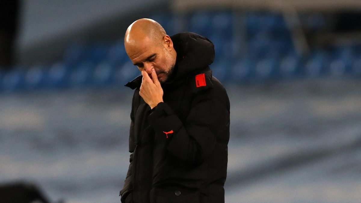 Pep Guardiola the head coach / manager of Manchester City reacts during the Premier League match between Manchester City and West Bromwich Albion at Etihad Stadium