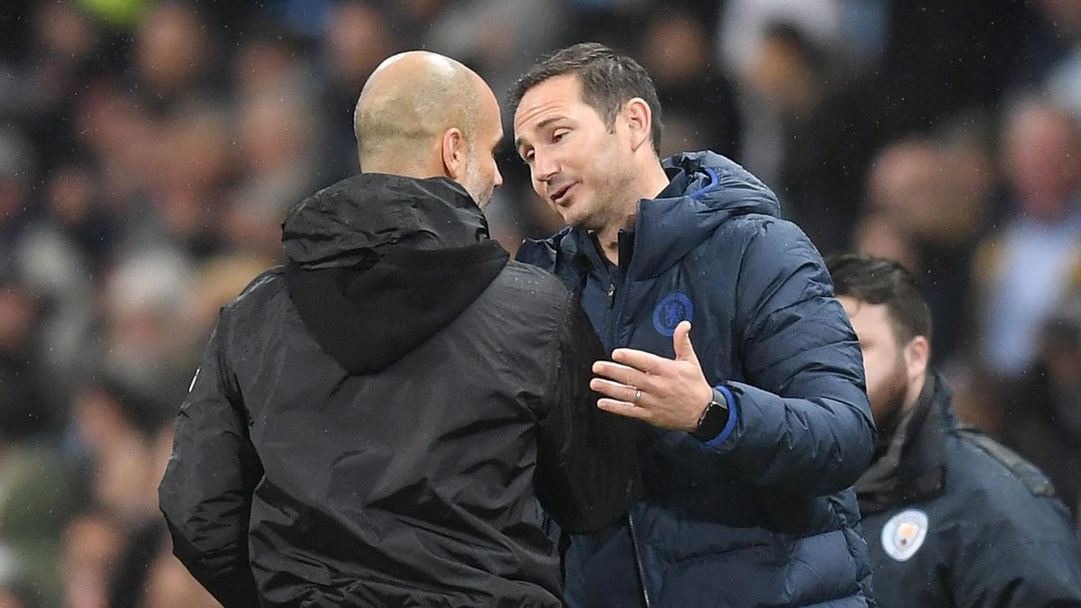 Frank Lampard, Manager of Chelsea embraces Pep Guardiola, Manager of Manchester City at full-time after the Premier League match at Etihad Stadium on November 23, 2019.