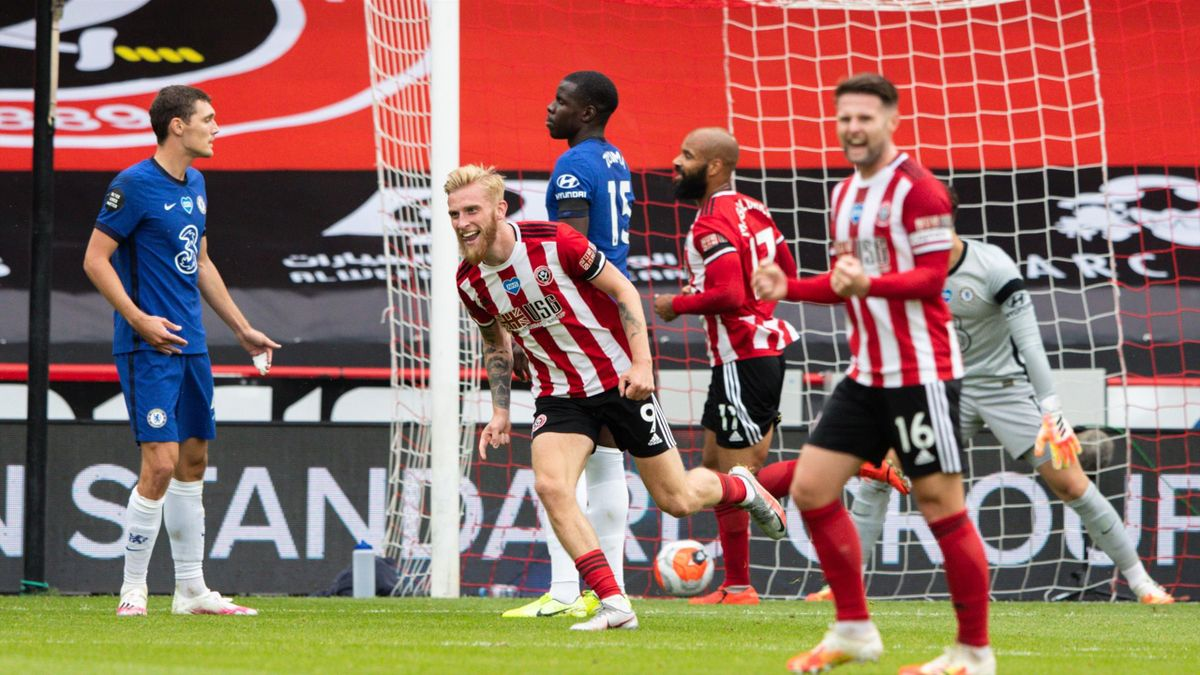 Sheffield United's Oliver McBurnie celebrates scoring his side's second goal during the Premier League match between Sheffield United and Chelsea FC at Bramall Lane on July 11, 2020 in Sheffield, United Kingdom.