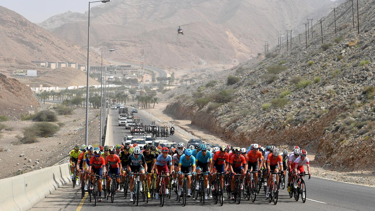 MATRAH CORNICHE, OMAN - FEBRUARY 21: Peloton / Mountains / Landscape / during the 10th Tour of Oman 2019, Stage 6 a 135,5km stage to Al Mouj Muscat to Matrah Corniche / TOO2019