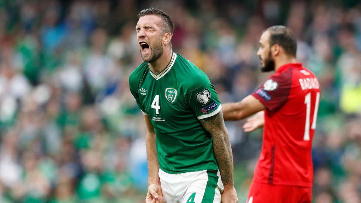 Shane Duffy reacts during Ireland v Azerbaijan