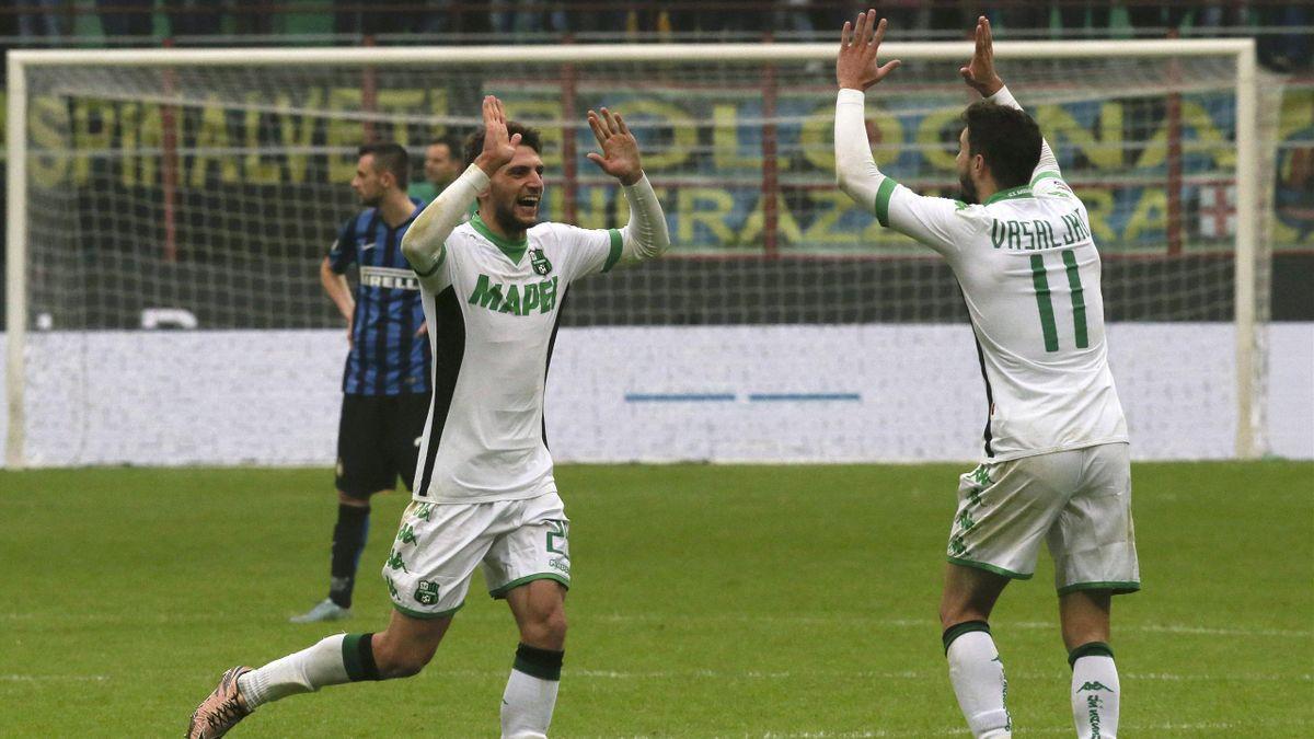 Domenico Berardi celebrates his winner