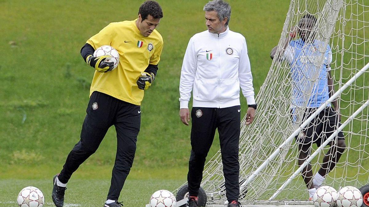 Julio Cesar și Jose Mourinho