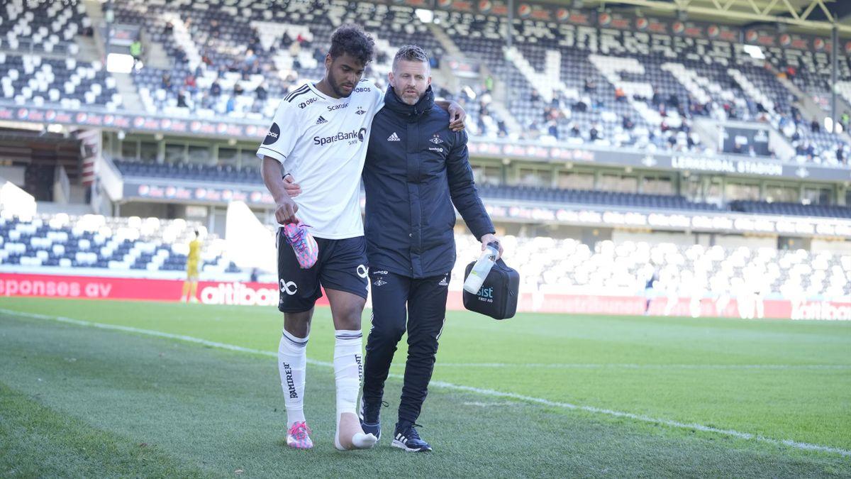 Emil Konradsen Ceïde måtte ut med skade i treningskampen mot Kristiansund onsdag.