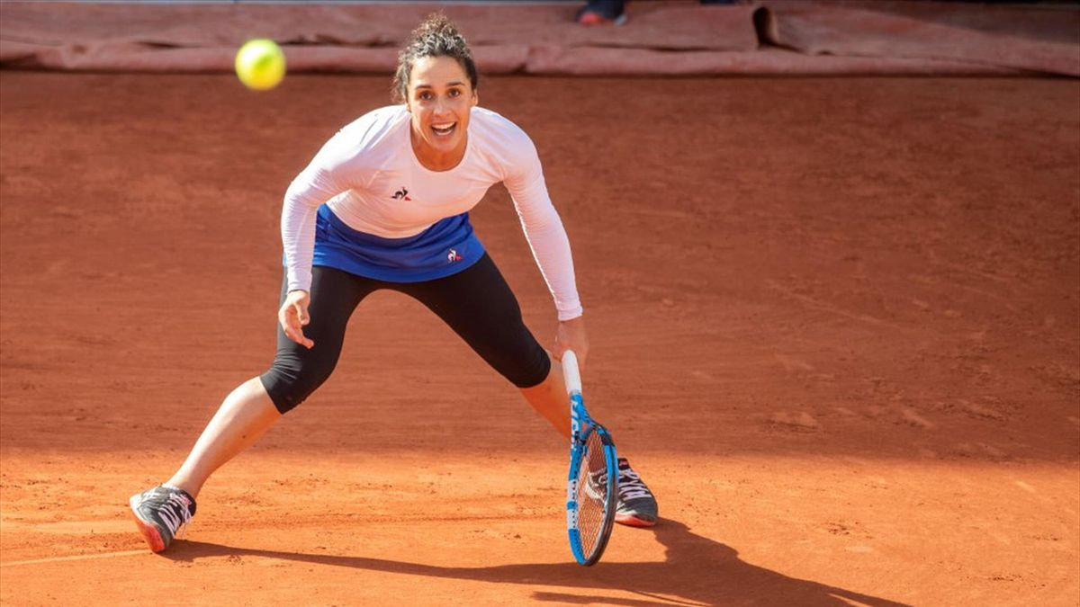 Martina Trevisan of Italy in action against Kiki Bertens of The Netherlands in the fourth round of the singles competition on Court Suzanne Lenglen during the French Open Tennis Tournament at Roland Garros on October 4th 2020 in Paris, France