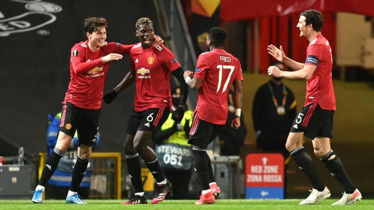 L'esultanza dei giocatori dello United - Manchester United-Roma Europa League 2020-21