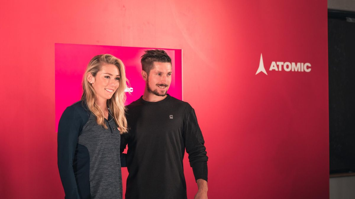 Mikaela Shiffrin and Marcel Hirscher at the Atomic media day (Credit Atomic)