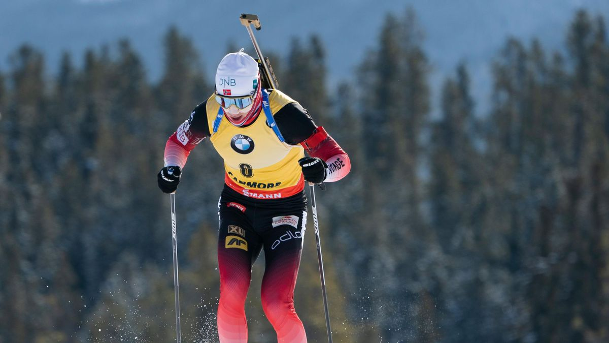 Johannes Thingnes Boe of Norway is seen on his way to win the 15km Short Individual competition at the IBU World Cup Biathlon in Canmore, Alberta, on February 07, 2019.