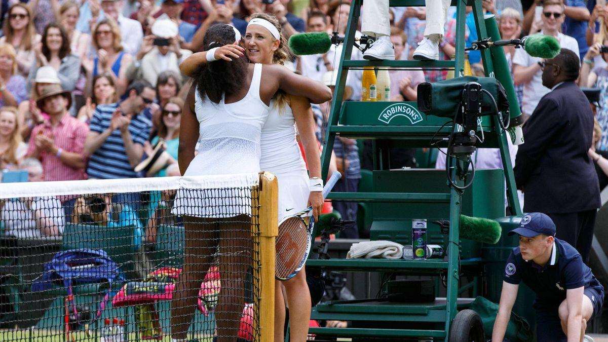 Виктория Азаренко и Серена Уильямс после четвертьфинала Уимблдон-2015