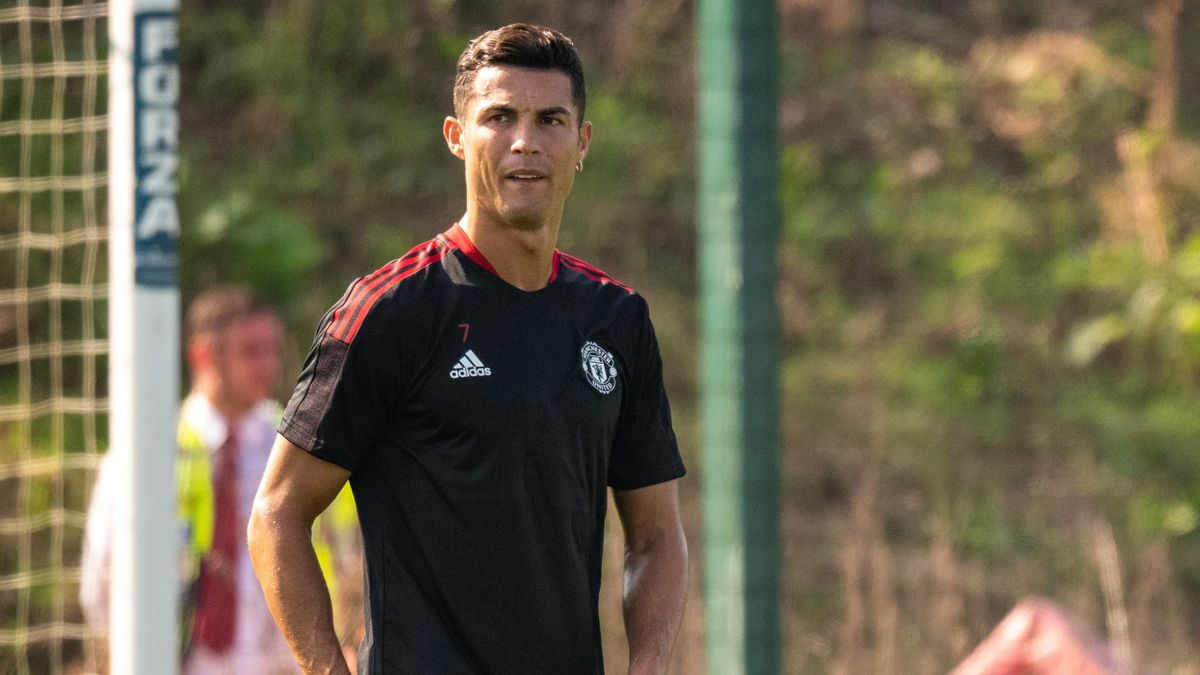 Cristiano Ronaldo of Manchester United in action during a first team training session at Carrington Training Ground on September 07, 2021 in Manchester, England.