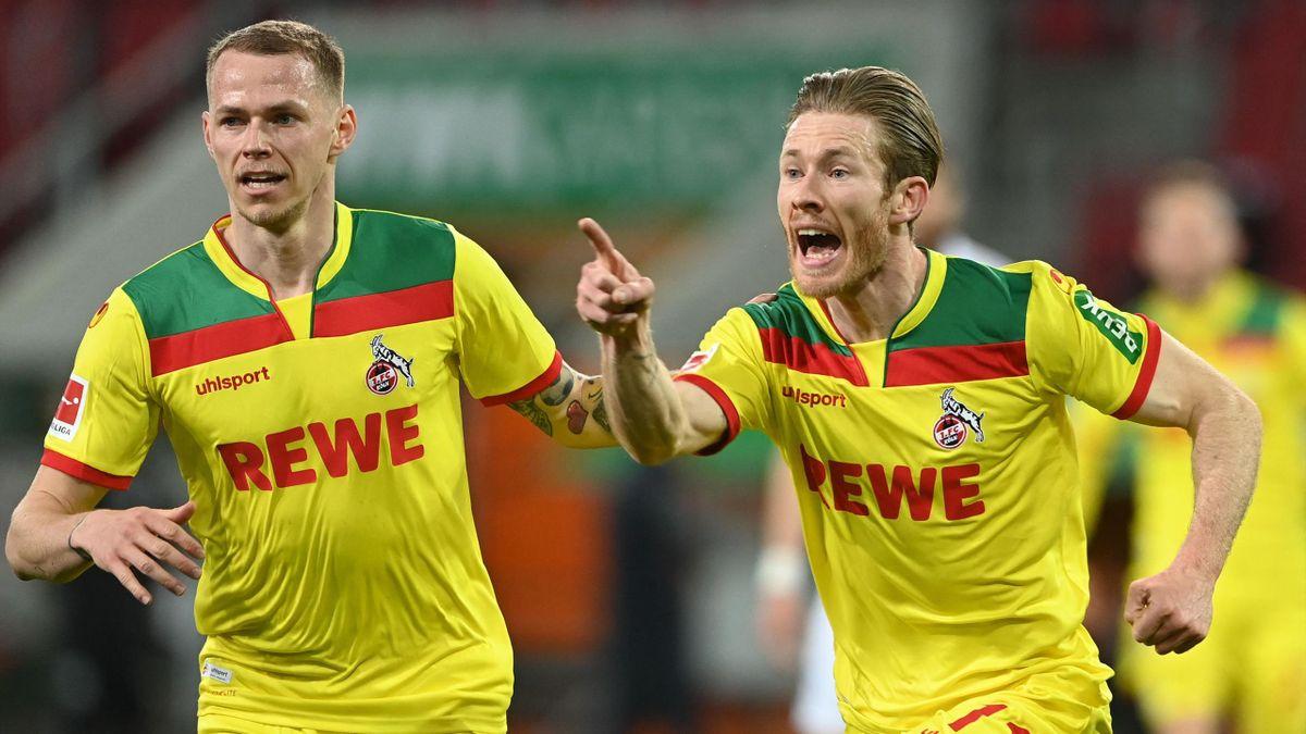 Ondrej Duda (l.) und Florian Kainz jubeln - FC Augsburg  vs. 1. FC Köln