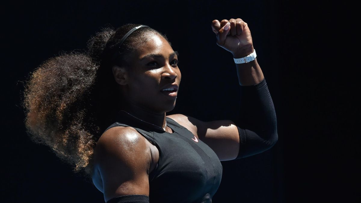 Serena Williams of the US reacts after a point against Britain's Johanna Konta during their women's singles quarter-final match on day ten of the Australian Open tennis tournament in Melbourne on January 25, 2017.